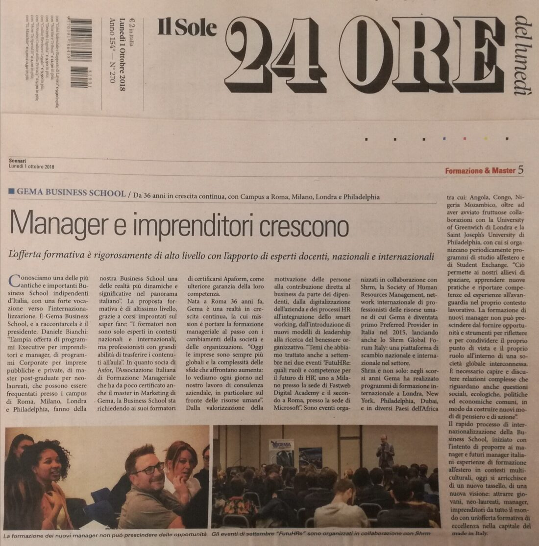 GEMA Business School: sul Sole 24 Ore l'intervista al presidente Daniele Bianchi